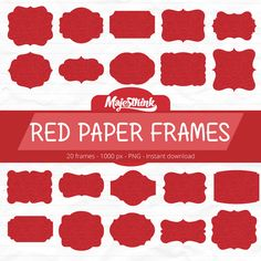Clip Art - RED PAPER FRAMES - Digital Frames with red kraft Paper ...