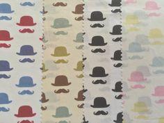 Hats mostashes print Cotton fabric moustache by TheFabricShopUK
