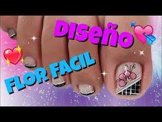 Diseño de uñas pies de flores / Easy flowers toenail - YouTube