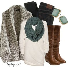 """Pom Pom Scarf"" by taytay-268 on Polyvore  love the color combo and sweater. warm, cozy & pretty"