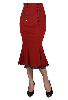Vitage 50's High Waist Double Buttoned Front Wiggle Red Pencil Skirt at Amazon Women's Clothing store: 37.95