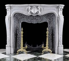 Good Images Marble Fireplace decor Concepts Natural-stone fireplaces will never walk out style, particularly those who feature elaborate surroun White Fireplace, Stove Fireplace, Fireplace Mantle, Fireplace Surrounds, Fireplace Design, Natural Stone Fireplaces, Marble Fireplaces, White Marble, Architecture Details