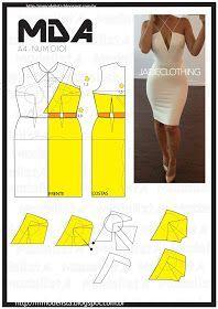 Mod@ en Line Dress Sewing Patterns, Clothing Patterns, Pattern Dress, Diy Clothing, Sewing Clothes, Fashion Sewing, Diy Fashion, Costura Fashion, Patron Vintage