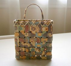 Woven Paper Basket  Brown Floral Pattern by BlueTangDesigns, $10.00