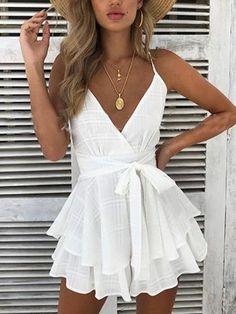 292a1f14bd4 White V-neck Tie Waist Open Back Chic Women Cami Mini Dress