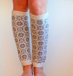 Knit leg warmers in traditional nordic ornament by CozySeason