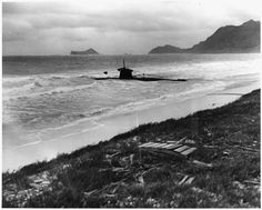 A beached two-man Japanese submarine found on the edge of Bellows Field, Hawaii, after the attack on Pearl Harbor of Dec. 7, 1941