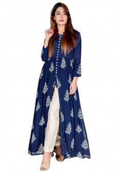Block Printed Georgette Front Slit Kurta Set in Navy Blue Pakistani Dresses Casual, Indian Fashion Dresses, Pakistani Dress Design, Indian Designer Outfits, Designer Dresses, Nigerian Fashion, Designer Kurtis, Designs For Dresses, Stylish Dress Designs