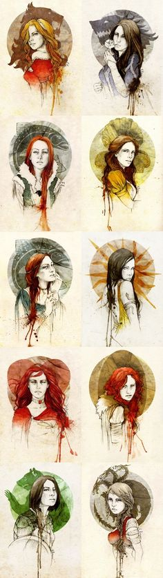 Very cool water color renderings of some of the coolest women from ASOIAF