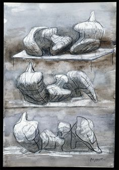 Three Reclining Figures 1975 HMF 75(8) watercolour wash, charcoal, chalk, gouache on blotting paper 263 x 217mm photo: The Henry Moore Foundation archive, Michel Muller