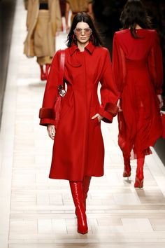 Pick a color and stick with it! Red from head to toe at Fendi. - The Best Looks of Milan Fashion Week Fall 2017 Photos | W Magazine