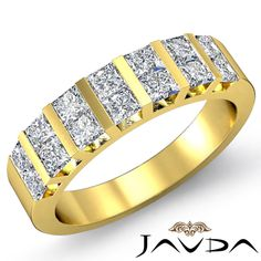 Unique Princess Diamond Bar Set Womens Wedding Band Ring 18k Yellow Gold 1.15Ct #Javda #WithDiamonds