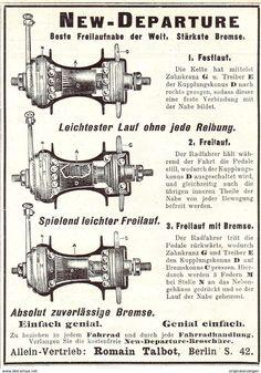 Original-Werbung/ Anzeige 1907 - NEW DEPARTURE FAHRRAD - NABE / ROMAIN TALBOT - Ca. 90 X 120 Mm - Werbung