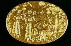 Late-Minoan gold ring (Archeological Museum, Athens), three priestesses, the double-axe, and a tree representing the Goddess