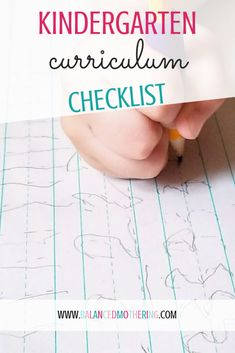 KINDERGARTEN CURRICULUM CHECKLIST - Balanced Mothering