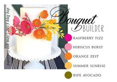 a photo and its main colors . Bouquet Builder from Paper Trey Ink . white base with flowers in hot pink, orange and yellow. Pink Bouquet, Bouquets, Card Sketches, Color Swatches, Color Pallets, Ink Color, Color Themes, Rainbow Colors, Color Combos