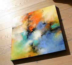 Freude  60 x 60 cm  Acryl auf Holzpaneel Abstract Art Michaela Jellinek