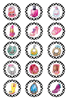 Bottle Cap Images  1 Inch 4 X 6  Shopkins Girly by ADivasBowtique