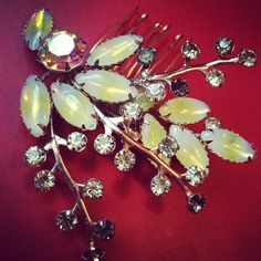 Gold and Yellow Floral Vintage Jewelry AB Crystal by HOUSEofLOVELY, $62.00
