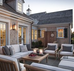 Take a peek at the luxurious outdoor shower and comfy seating on the HGTV Dream Home 2015 patio. Outdoor Rooms, Patio Furniture, Deck Furniture, Coastal Interiors, Outdoor Shower, Shingle House, Cape Cod Style House, Patio Pictures, Patio Furniture Layout