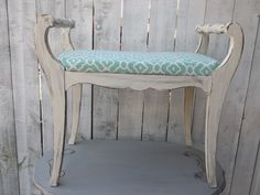 Shabby Chic Bench Vintage Wood Vanity Green and Ivory Cottage Chic Decor Accent Seating by OutOfMyShabbyMind on Etsy