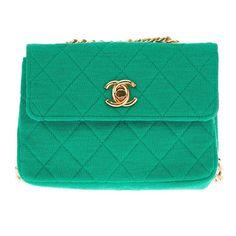 What a fantastic colour...Chanel Vintage Quilted Fabric Shoulder Bag