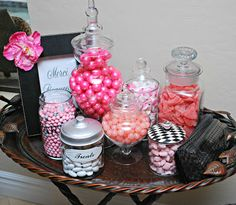 this candy station is cute; Candy For Sale, Bulk Candy, Baby Shower Fun, Dessert Tables, Candy Buffet, Buffets, 1st Birthday Parties, Future Baby, Clutter