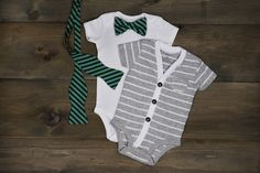 Striped Short Sleeve Onesie + Matching Mens Bow Tie