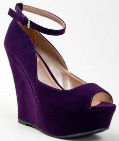 Qupid Finder 69 Open Toe High Platform Ankle Strap Sculpted Wedges Purple Wedgespurple Shoescottage Weddingp