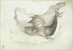 Pisanello. Ship born by a dragon, mid 15C. Codex Vallardi 2292 v., Louvre, Paris.