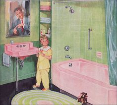1952 Pink & Green Kohler Bath.. I'm pretty sure that our house in candler had a bathroom or two like this :)