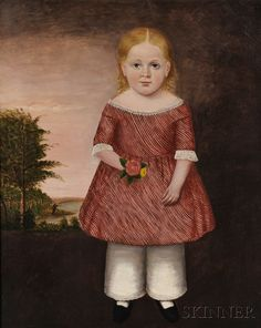 LOT 1068 - AMERICAN SCHOOL, 19TH CENTURY PORTRAIT OF A YOUNG GIRL IN A RED-AND-WHITE STRIPED DRESS HOLDING A POSY. UNSIGNED. OIL ON CANVAS, C. ... - Skinner Inc