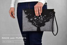 Grey felt bag GreyLetter grey felt black lace clutch door FeltLabel