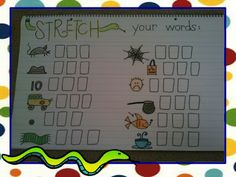 Eberhart's Explorers - Stretch your words.  Kids sound out the word and write the letters in the squares.  One other chart on website for more cvc words.