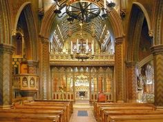 Nave of St Giles', Cheadle, by A. W. N. Pugin--rood screen