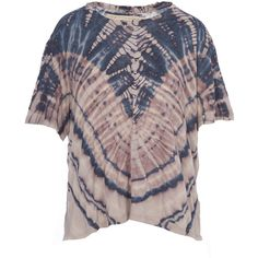 Raquel Allegra Shredded Back Tie Dye Boxy Tee ($245) ❤ liked on Polyvore featuring tops, t-shirts, tye dye t shirts, longline t shirt, tie dyed t shirts, crew-neck tee and tie dye tee