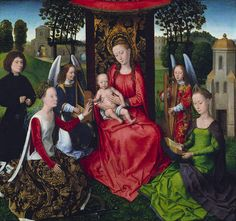 Virgin and Child with Saints Catherine of Alexandria and Barbara, 1479  Hans Memling  Oil on wood  The donor at the left is shown saying his rosary as he contemplates Saint Catherine's mystic marriage to the infant Christ. Saint Barbara, whose identifying tower is behind her, sets a meditative example by reading.