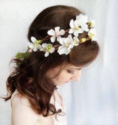 white flower crown, hair flower wreath, bridal flower circlet, wedding hair accessories, lime green - STORYTELLER - floral bridal headpiece. $105.00, via Etsy.