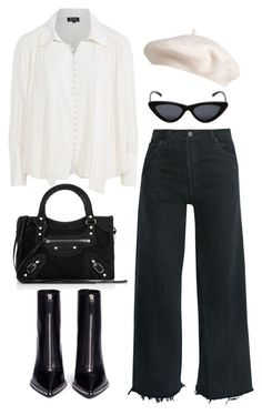 """Untitled #5380"" by theeuropeancloset on Polyvore featuring RE/DONE, Alexander Wang, Nico, Balenciaga and Le Specs"