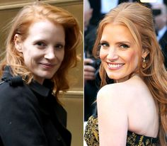 Stars Without Makeup: Jessica Chastain-still looks good, but wow, with make-up absolutely gorgeous.