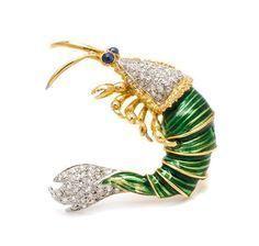 An 18 Karat Gold, Diamond, Sapphire and Enamel Shrimp Brooch