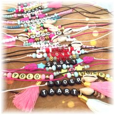 Alfabet beads Bracelets with quotes and text Handmade by SaZjewelry