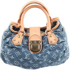 Preowned Louis Vuitton Blue Monogram Denim Pleaty Bag Handbag Purse ($659) ❤ liked on Polyvore featuring bags, handbags, blue, pre owned handbags, louis vuitton handbags, hand bags, louis vuitton purses and summer purses