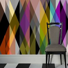 modern color wheel wallpaper...love it...Thinking this could be a great accent wall in Jasmines room