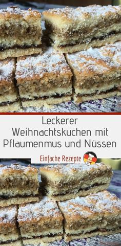 Delicious Christmas cake with plum jam and nuts- Leckerer Weihnachtskuchen mit Pflaumenmus und Nüssen Ingredients for the dough: 3 st. egg yolks 3 tbsp powdered sugar 150 g butter 300 g - Pumpkin Smoothie, Plum Jam, Easy Smoothie Recipes, Coconut Recipes, Pumpkin Spice Cupcakes, Icing Recipe, Fall Desserts, Homemade Cakes, Ice Cream Recipes
