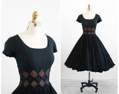 vintage 1950s dress / 50s dress / Black Chiffon Party Dress with Harlequin Diamond Waist. $386.00, via Etsy.