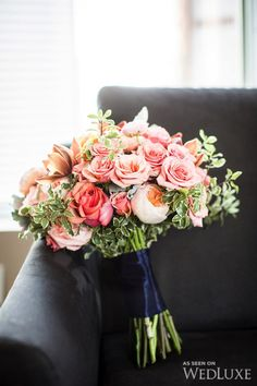 WedLuxe– A Pretty Peach and Navy Wedding in Downtown Toronto | Photography by: Ikonica Follow @WedLuxe for more wedding inspiration!