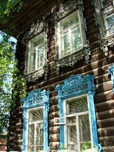 Russian wooden house with carved decorations. #Russian #wooden #house