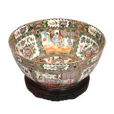 Large Canton Famille Rose enameled punch bowl
