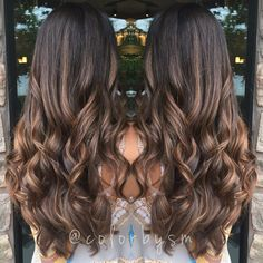 long rich chocolate brown hair sun kissed with soft natural caramel balayage